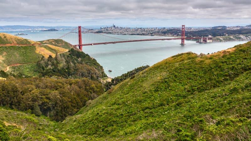 Aqua Water Golden Gate Bridge fotografie stock libere da diritti