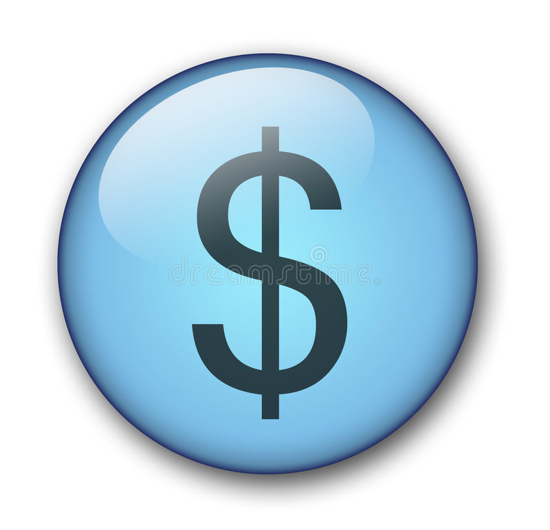 Aqua web button dollar royalty free illustration
