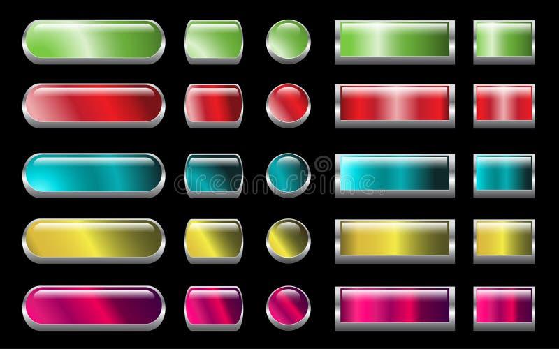 Aqua Web buttons set vector illustration