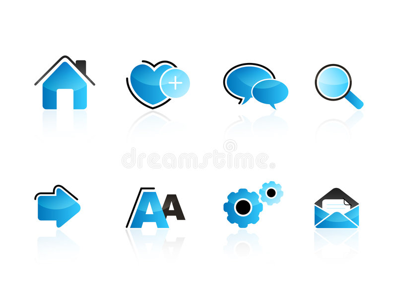 Aqua web icon set royalty free illustration