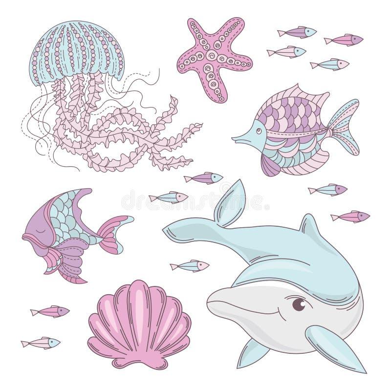 AQUA-WERELD Onderwater Overzeese Oceaan Dierlijke Beeldverhaal Vectorreeks stock illustratie