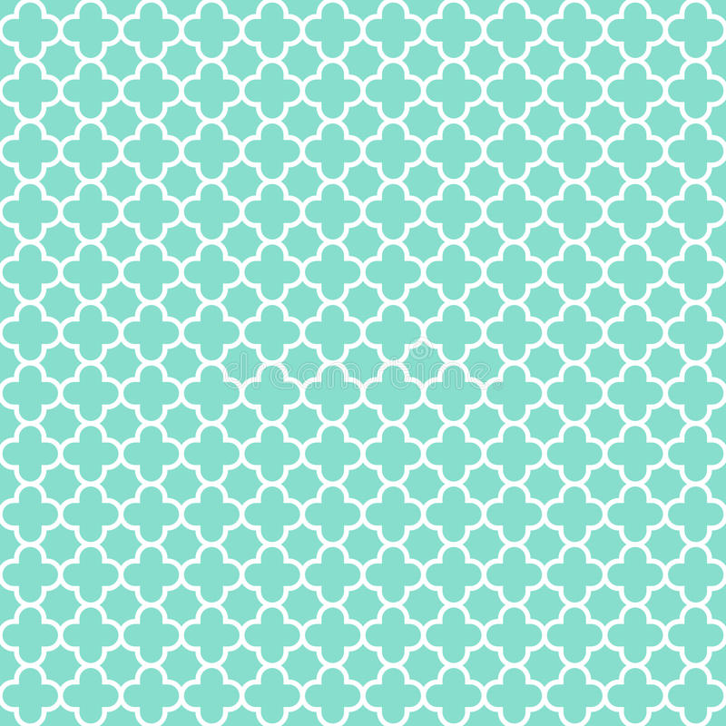 Aqua & white quatrefoil pattern, seamless texture background royalty free stock images