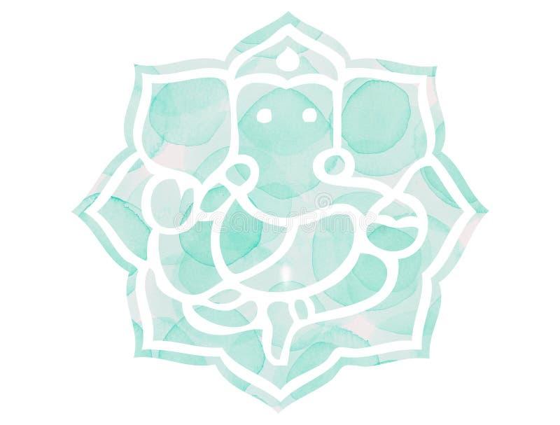 Aqua zielony Ganesh Lotus Mandela ilustracji
