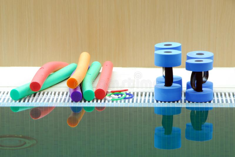 Aquaaerobic equipment for fun, trening and lesson in the swiming royalty free stock photos