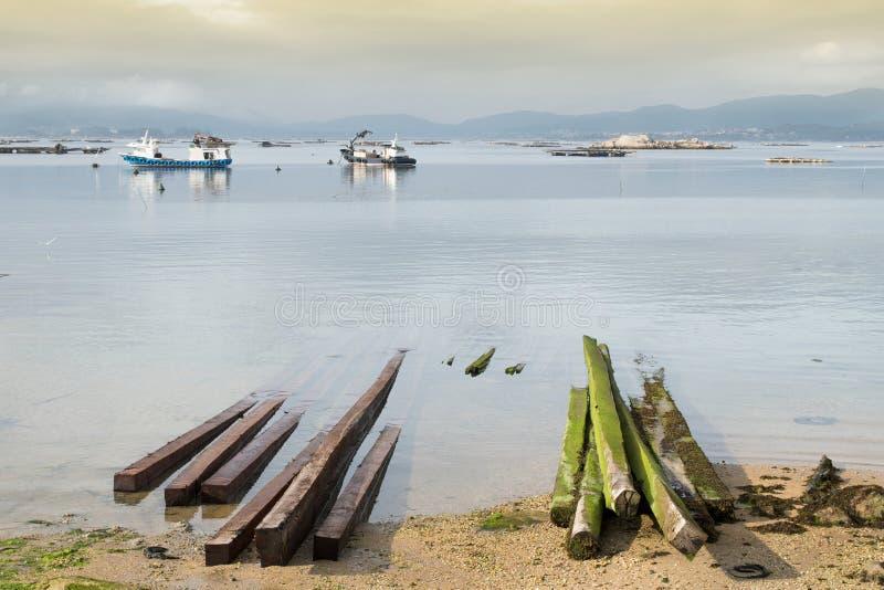 aquaculture Seelandschaft von Galizien-Küste stockfotos