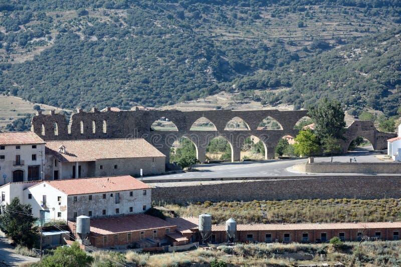 Aquaduct in Morella stock afbeeldingen