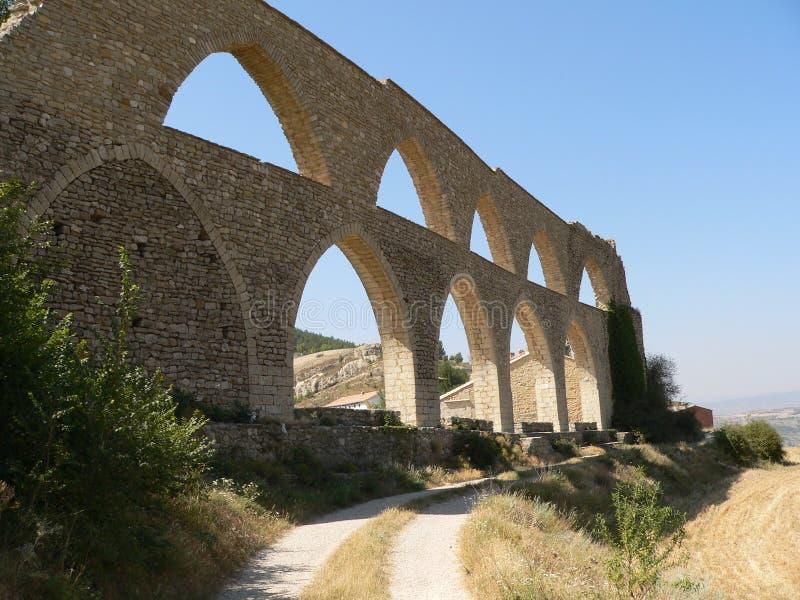 Aquaduct - Morella, Spanje stock afbeelding