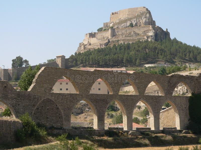 Aquaduct - Morella, Spanje royalty-vrije stock foto's