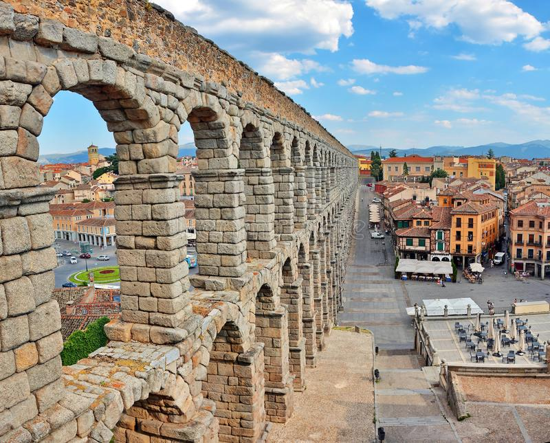 Aquaduct, Segovia, Spanje stock foto