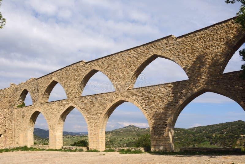 Aquaduct van Morella, Castellon-provincie, stock foto