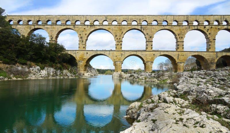 Aquaeduct Pont du il Gard a sud della Francia fotografia stock libera da diritti