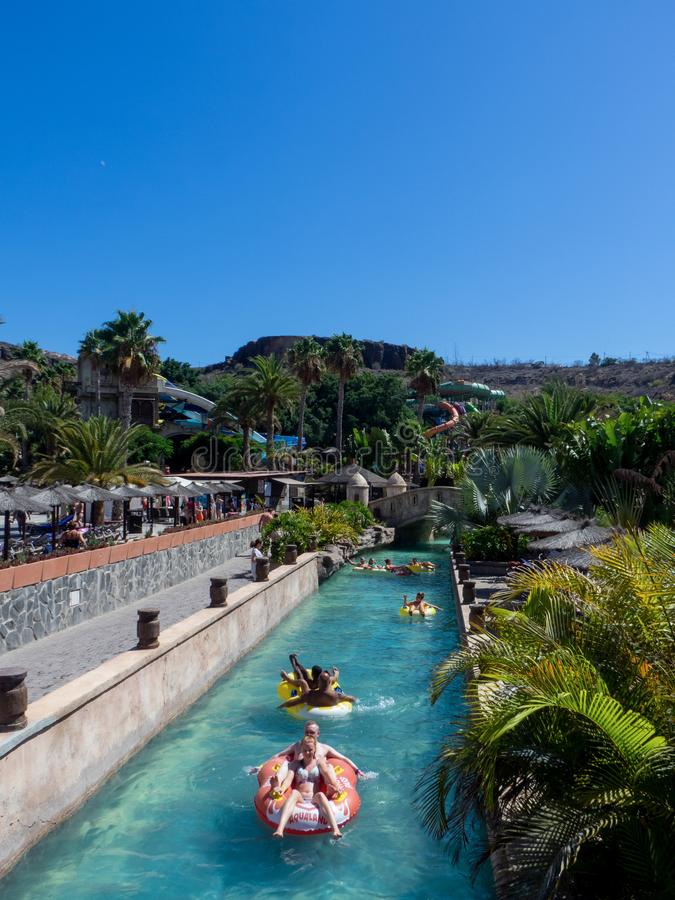 Aqualand park in Maspalomas, Gran Canaria. Gran Canaria/Spain - August 20 2019: Aqualand is a chain of Spanish water-amusement parks. Maspalomas  is a tourist royalty free stock photography