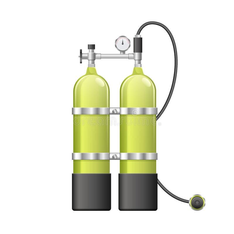 Aqualang ou ballons de l'oxygène de scaphandre Illustration de vecteur d'équipement de plongée jaune Article sous-marin de sport illustration stock