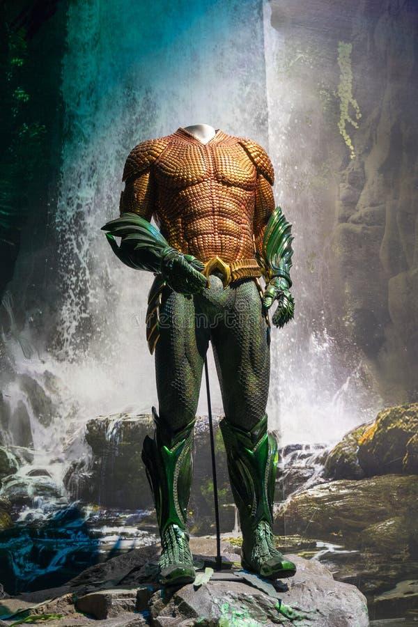 Aquaman Movie Exhibition Aquaman Suit stock images