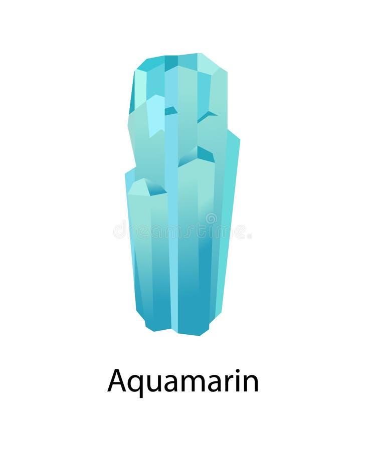 Aquamarin e Beryl Mineral Composed do berílio ilustração stock