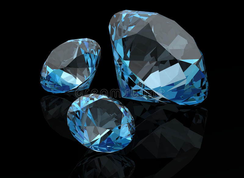 Aquamarine on black background ( 3D image) royalty free illustration
