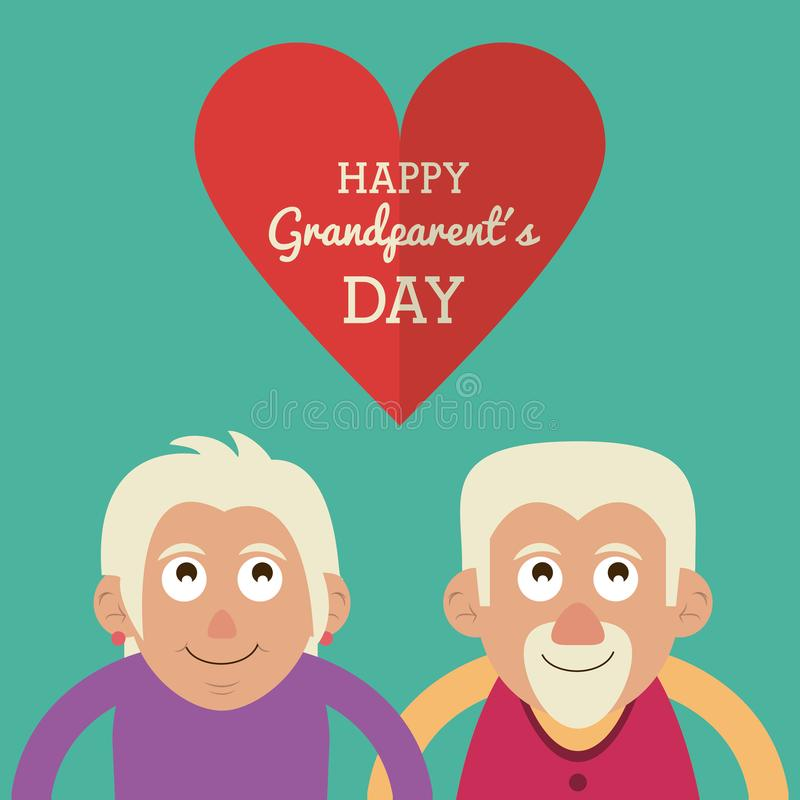 Aquamarine color card with half body couple of elderly with text happy grandparents day in heart. Vector illustration vector illustration