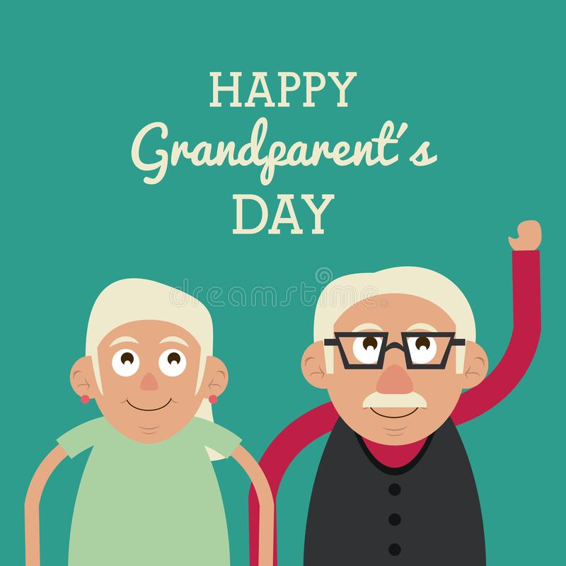 Aquamarine color card with half body couple of elderly with text happy grandparents day and him with glasses. Vector illustration stock illustration