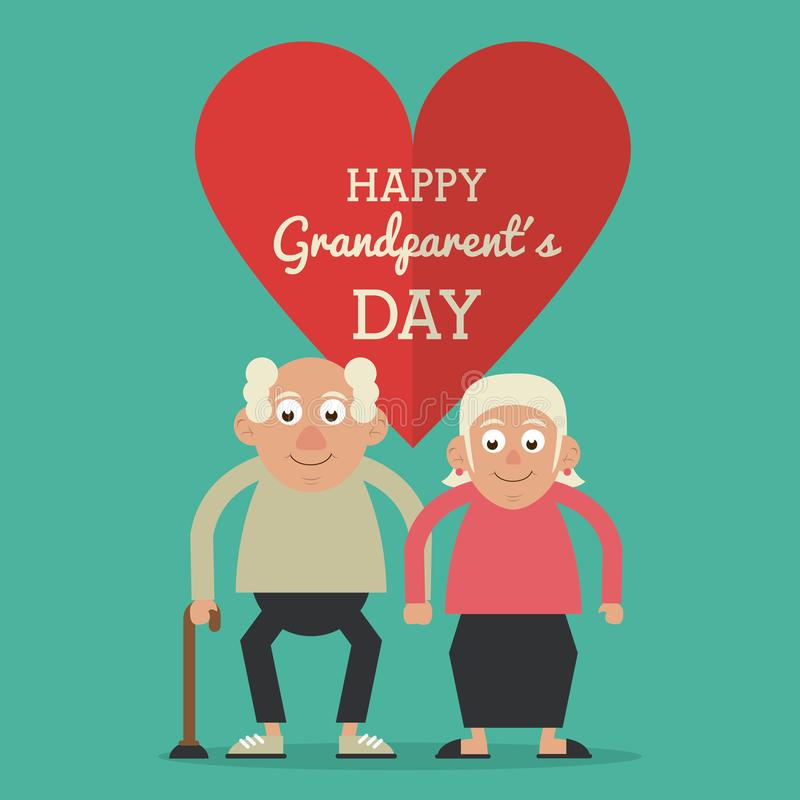 Aquamarine color card and heart background with text happy grandparents day with elderly couple and him with walking vector illustration