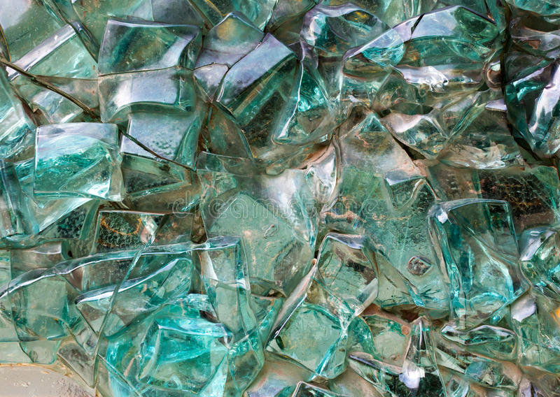Aquamarine decorative abstract glass cubes on the wall