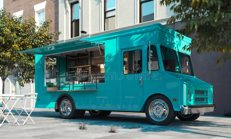 Aquamarine food truck with detailed interior on street. Takeaway. 3d rendering. royalty free stock photos