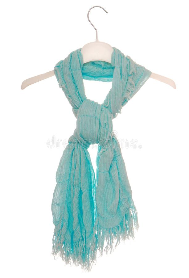Aquamarine scarf is on hanger royalty free stock images