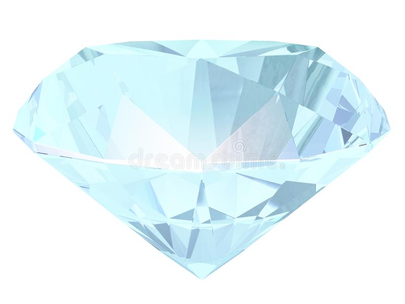 Aquamarine side view 3D illustration stock illustration