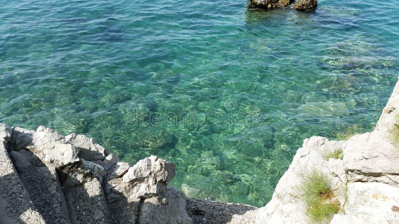 Aquamarines Wasser und Steintreppe in Budva Montenegro lizenzfreie stockfotografie