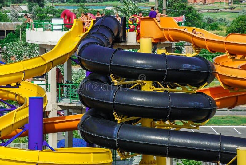 Aquapark在别尔江斯克市,乌克兰 免版税库存图片