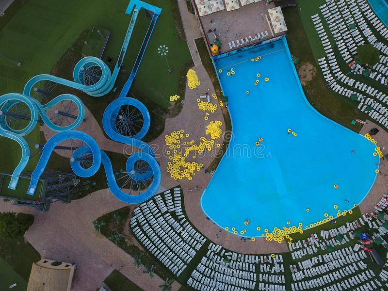 Aquapark from above. Swimming pool in aquapark in Minsk from above, drone aerial perspective, summertime, Belarus