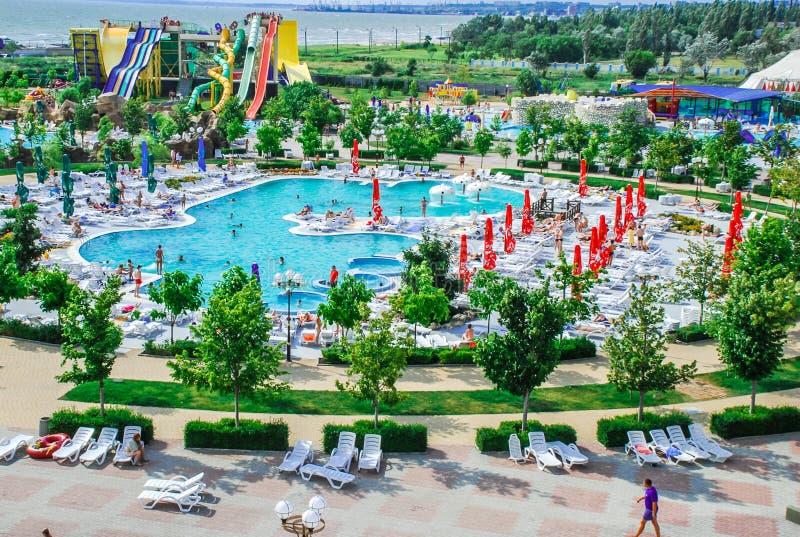 Aquapark in Berdyansk-stad, de Oekraïne royalty-vrije stock fotografie