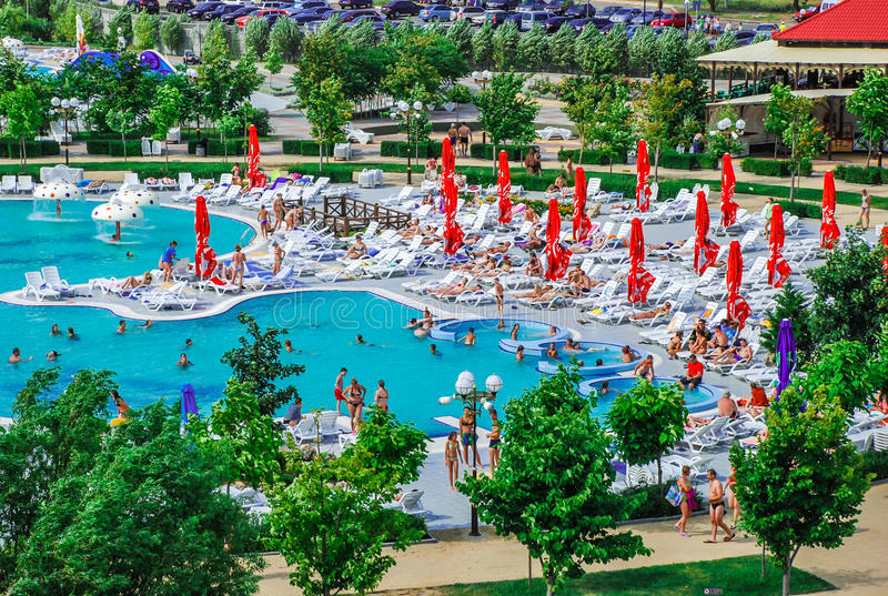 Aquapark in Berdyansk-stad, de Oekraïne stock fotografie