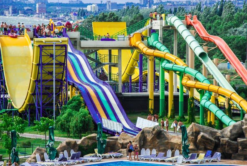 Aquapark in Berdyansk-stad, de Oekraïne royalty-vrije stock afbeeldingen
