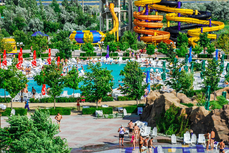 Aquapark in Berdyansk-stad, de Oekraïne royalty-vrije stock foto
