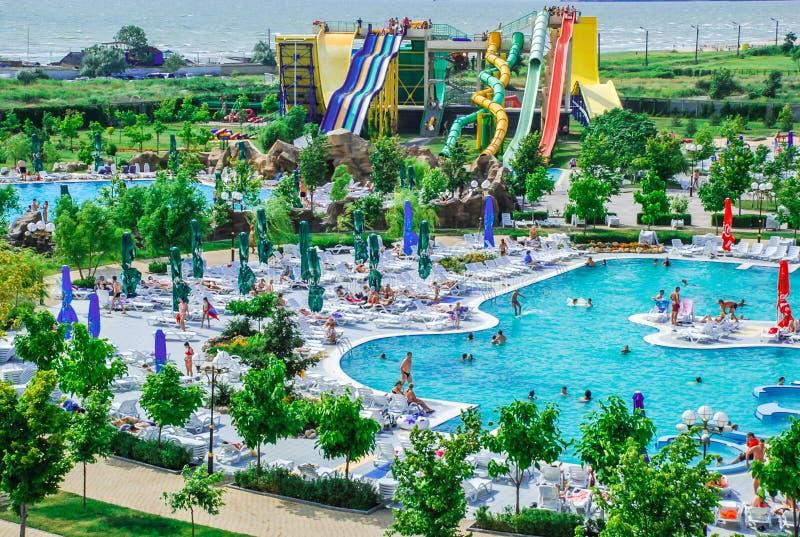 Aquapark in Berdyansk-stad, de Oekraïne stock foto's