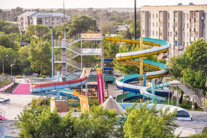 Aquapark bij Semey-Stad stock afbeelding