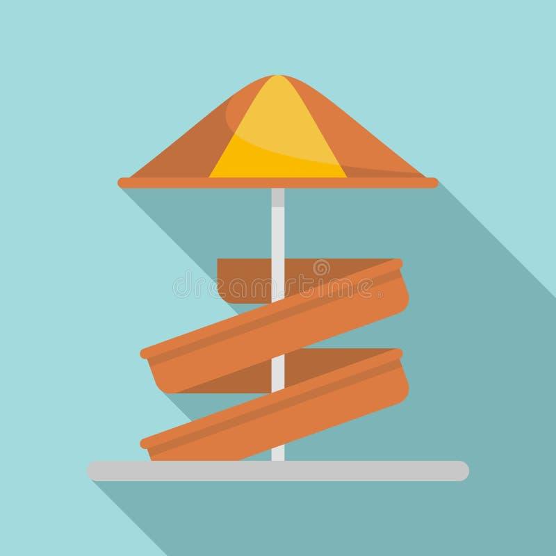 Aquapark dzieciaka obruszenia parasolowa ikona, mieszkanie styl ilustracja wektor