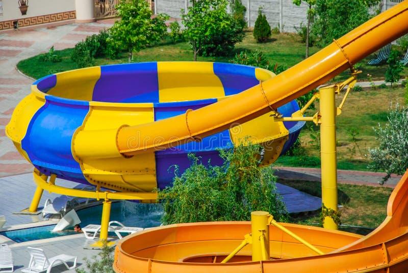 Aquapark en la ciudad de Berdyansk, Ucrania imagen de archivo libre de regalías