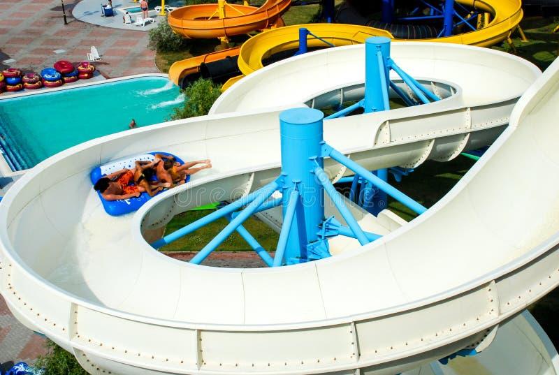 Aquapark en la ciudad de Berdyansk, Ucrania imagen de archivo