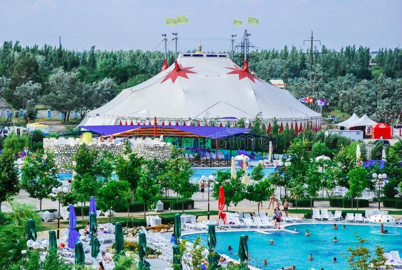 Aquapark en la ciudad de Berdyansk, Ucrania foto de archivo