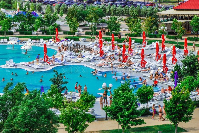 Aquapark en la ciudad de Berdyansk, Ucrania fotografía de archivo