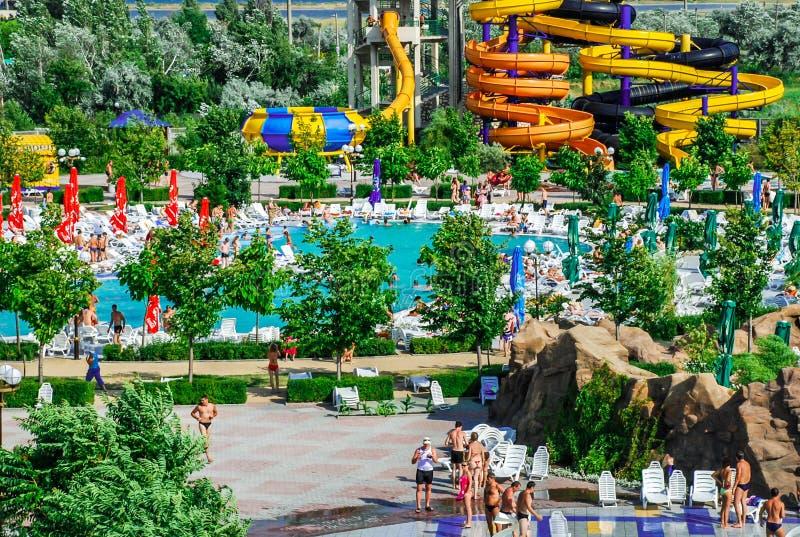 Aquapark en la ciudad de Berdyansk, Ucrania foto de archivo libre de regalías