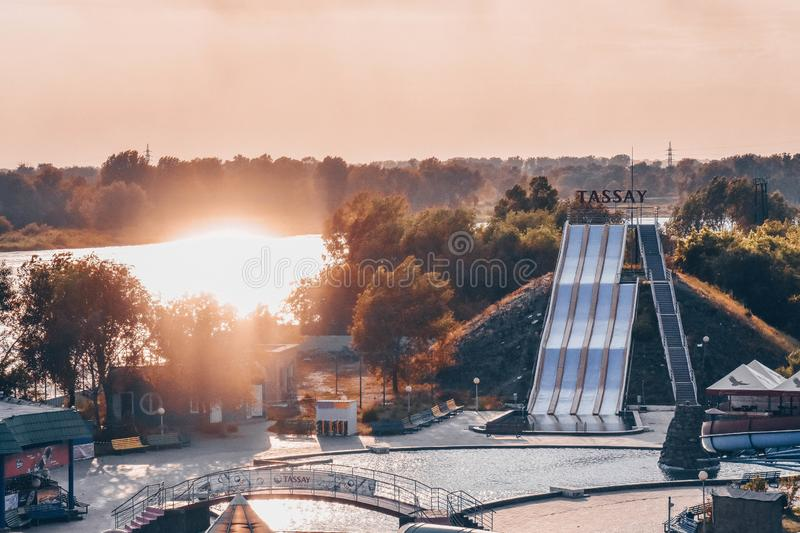 Aquapark at Semey City. It`s cool place for everyone in my city. Here people gets fun everyday stock image