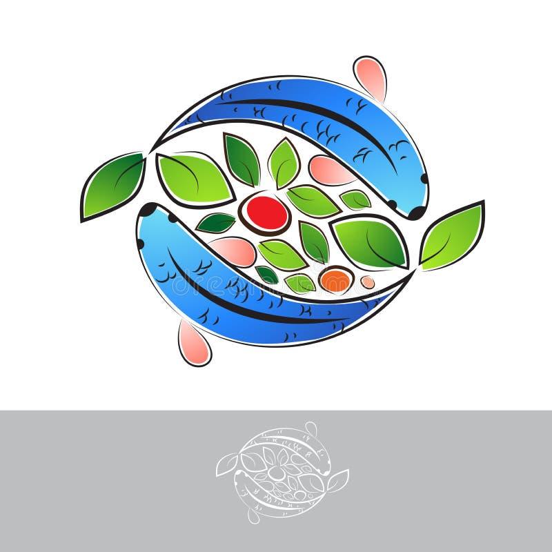 Aquaponic Logo With Fish ilustração royalty free