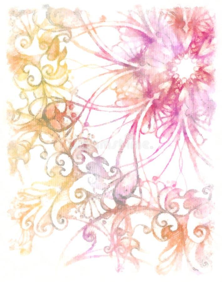 Aquarel Siermandala Gele en roze kleurenachtergrond royalty-vrije stock afbeelding