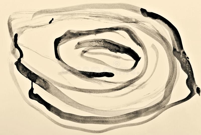 Aquarela abstrata na textura de papel como o fundo No sepia tonificado Estilo retro ilustração stock