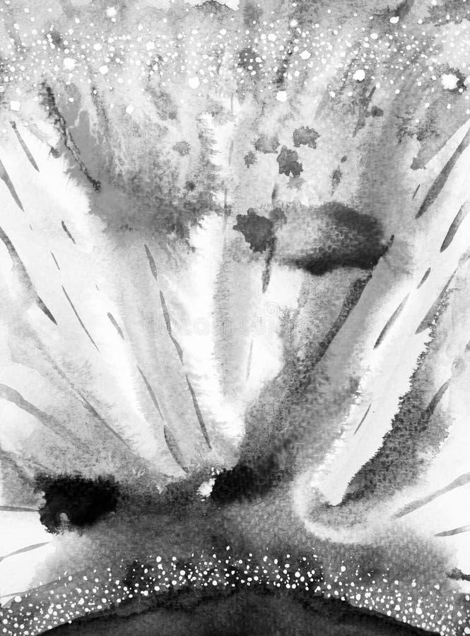 Aquarela abstrata que pinta o fundo preto, branco do universo ilustração royalty free