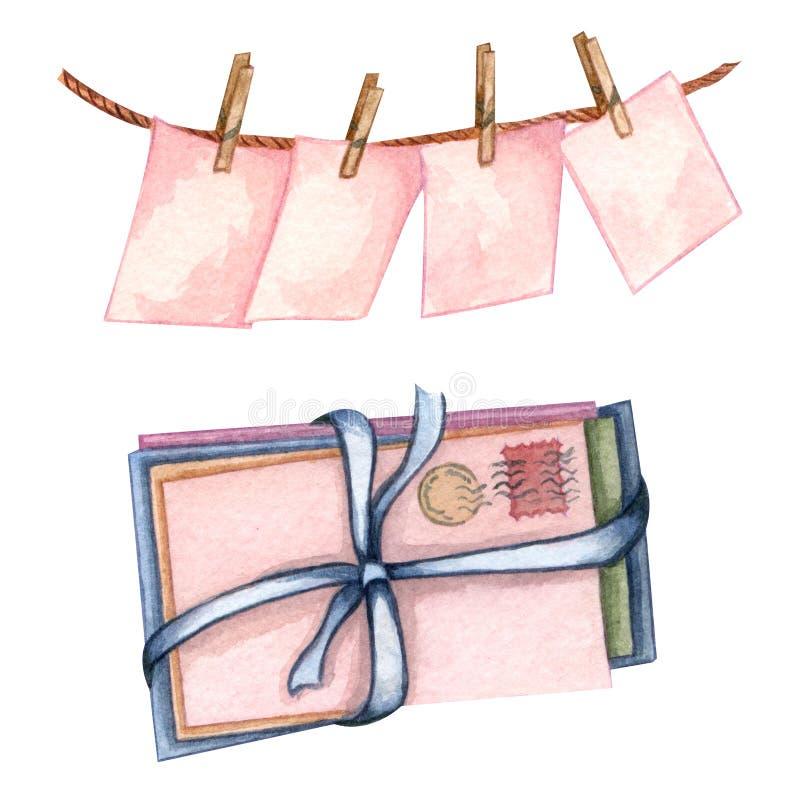 Aquarela ajustada com carg cor-de-rosa em uma corda, em um envelope e em umas folhas de papel Pilha de envelopes velhos com curva ilustração do vetor