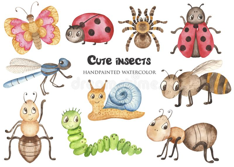 Aquarela ajustada com os insetos bonitos dos desenhos animados do bebê ilustração do vetor