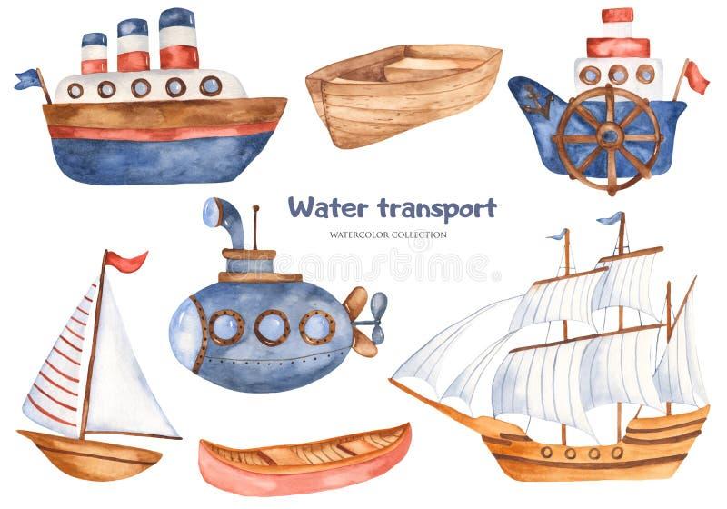 Aquarela ajustada com os navios bonitos e o submarino dos desenhos animados das crianças ilustração stock